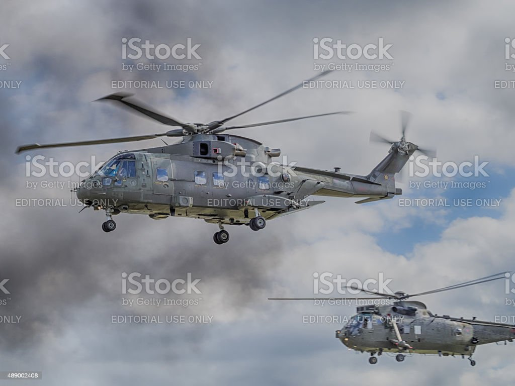 Royal Navy helicopters stock photo
