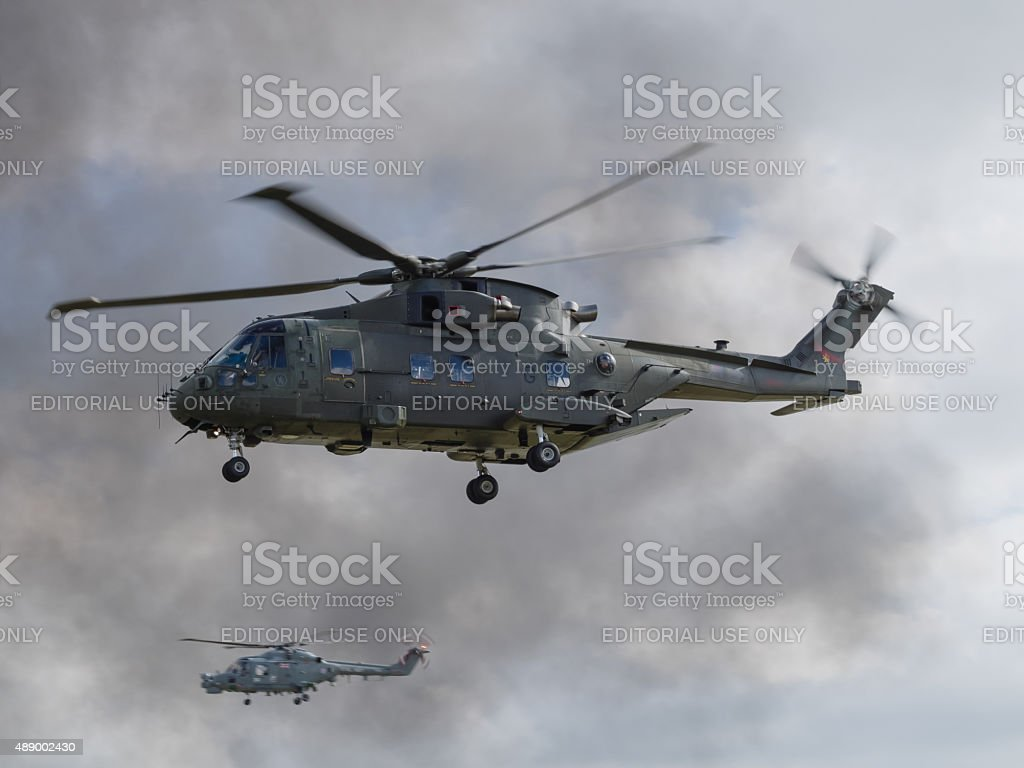 Royal Navy Merlin helicopter stock photo