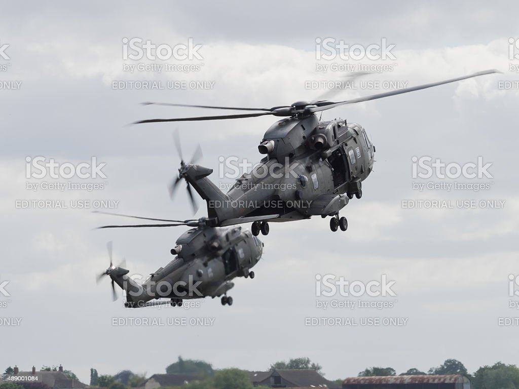 Royal Navy Merlin helicopters stock photo