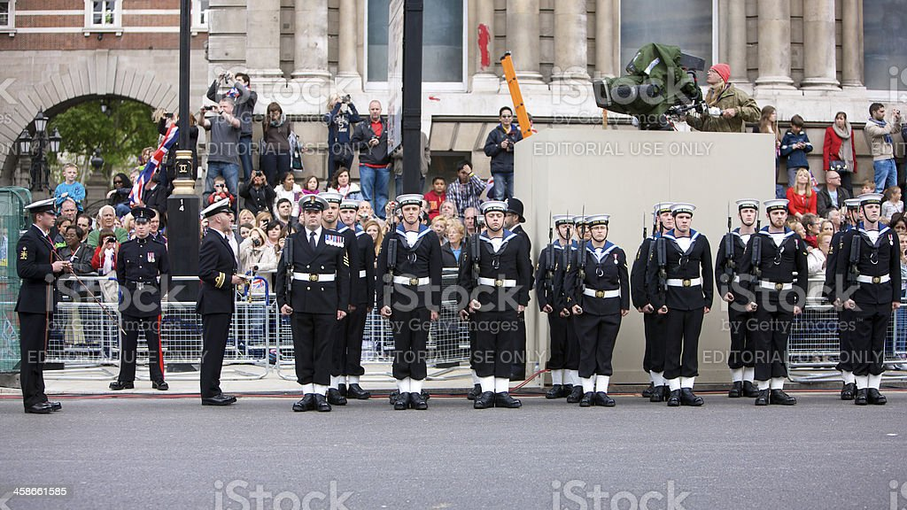 Royal Navy on parade at Queen's Diamond Jubilee State procession royalty-free stock photo