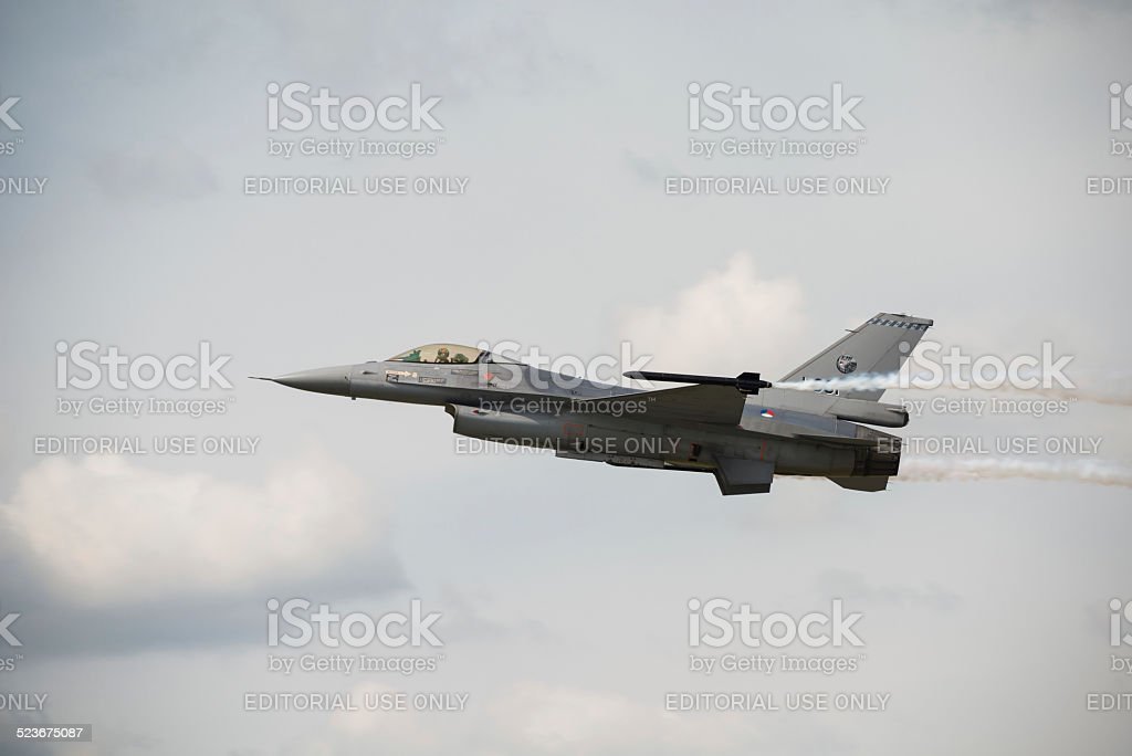 Royal Netherlands Air Force (RNLAF) F16 fighter jet stock photo