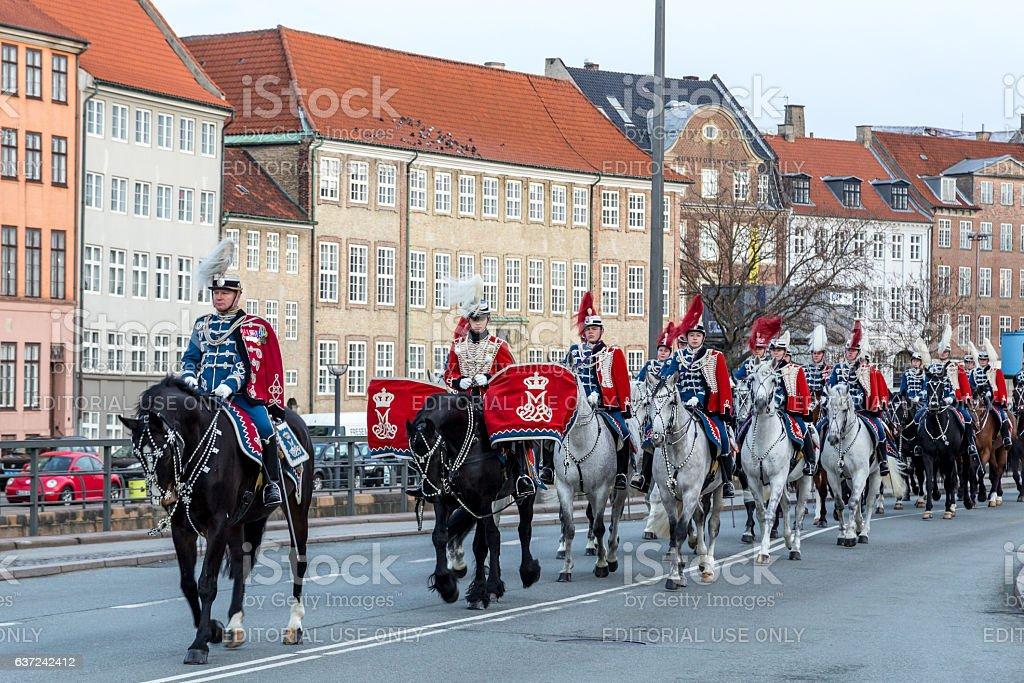 Royal New Year Celebration in Copenhagen, Denmark stock photo