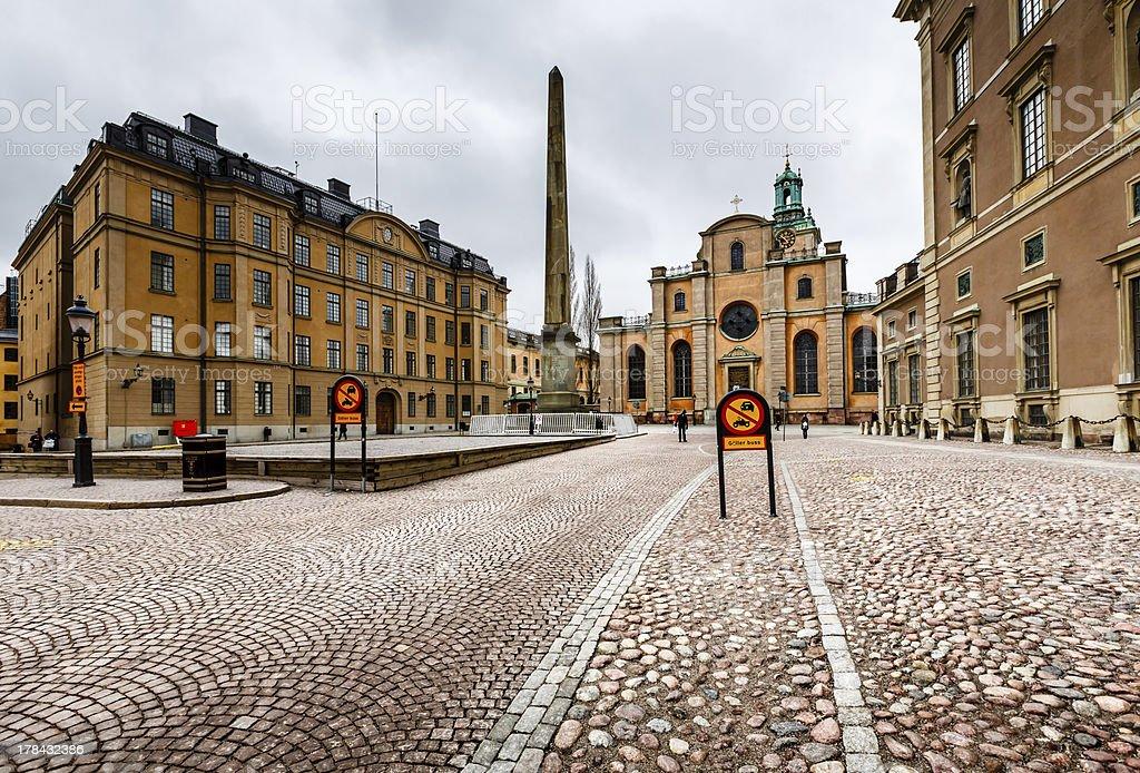 Royal Palace and Cathedral of Saint Nicholas (Storkyrkan) stock photo