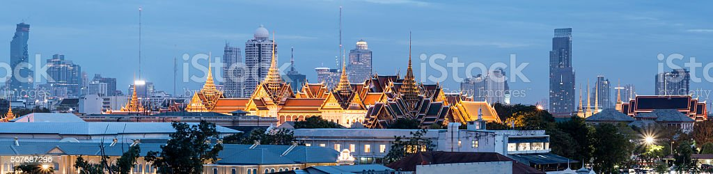 Royal Palace and City Skyline Bangkok at Sunset Thailand stock photo