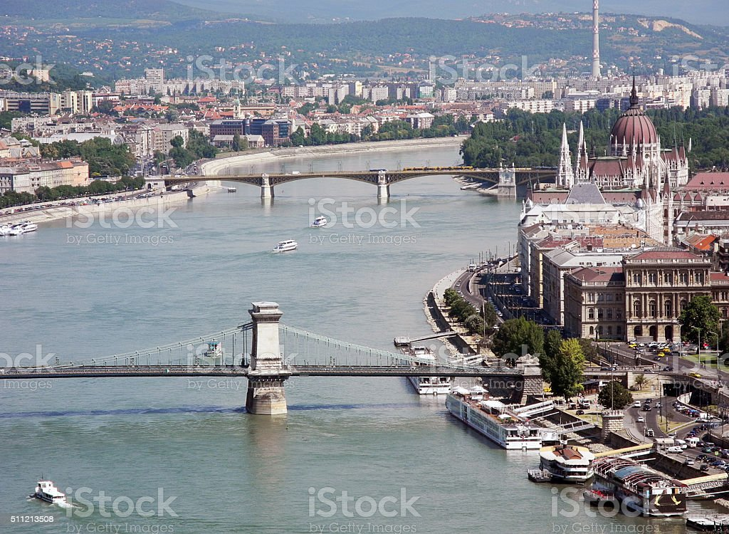 Royal Palace and Danube river in Budapest. stock photo