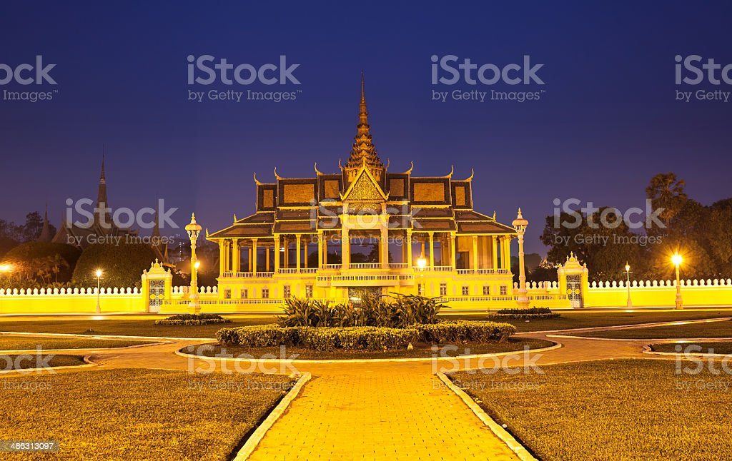 Royal Palace and Silver pagoda, Phnom Penh, Cambodia. stock photo