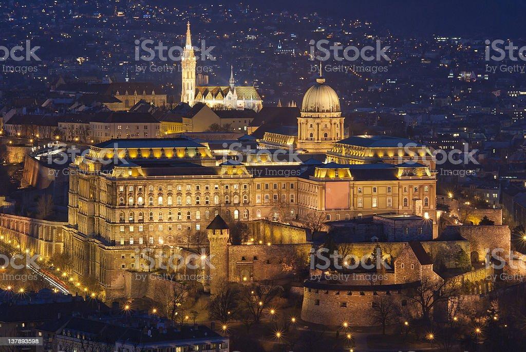 Royal Palace by night, Budapest royalty-free stock photo
