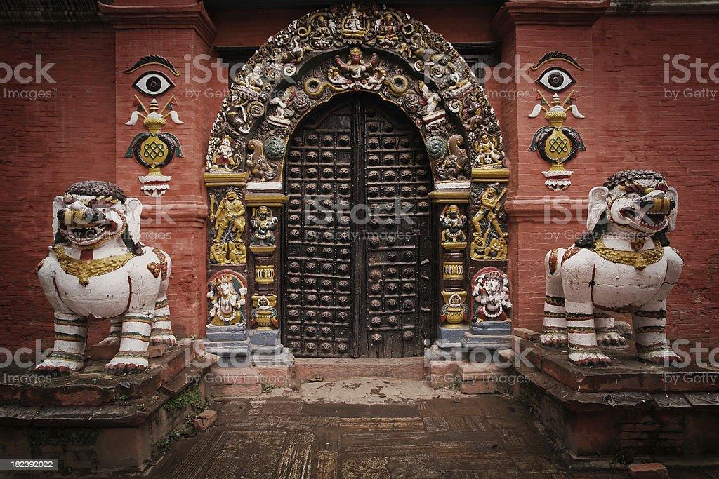 Royal Palace Doors in Patan royalty-free stock photo