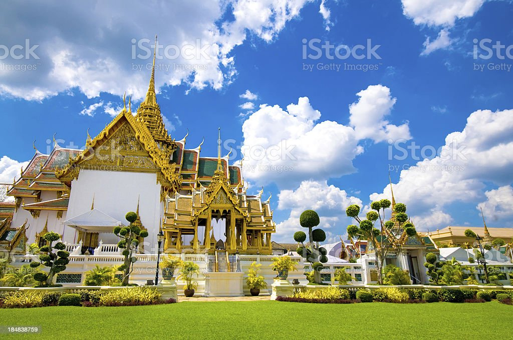 Royal Palace in Bangkok Thailand and Wat Phra Kaew Temple stock photo