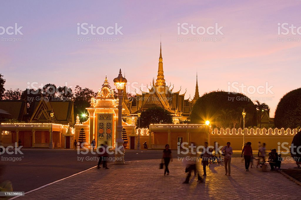 Royal Palace in Phnom Penh at dusk royalty-free stock photo