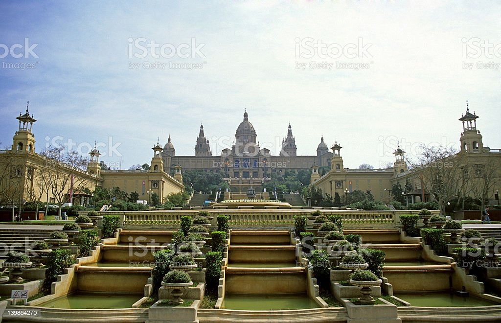 Royal Palace in the morning light (Barcelona) stock photo