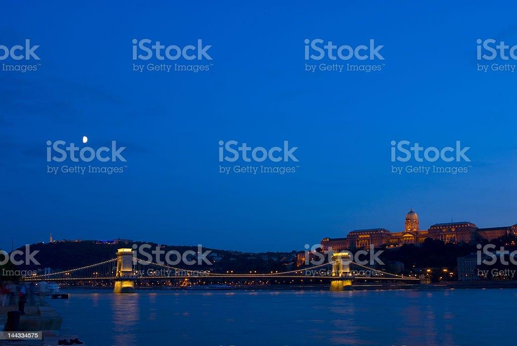 Royal palace of Buda and Chain Bridge royalty-free stock photo