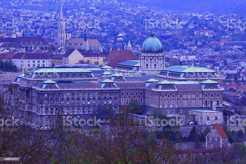 Royal Palace of Buda and Matthias Church at evening royalty-free stock photo