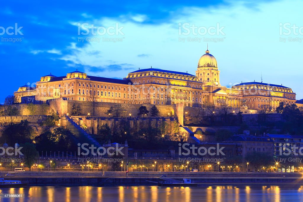 Royal Palace of Buda at dusk stock photo