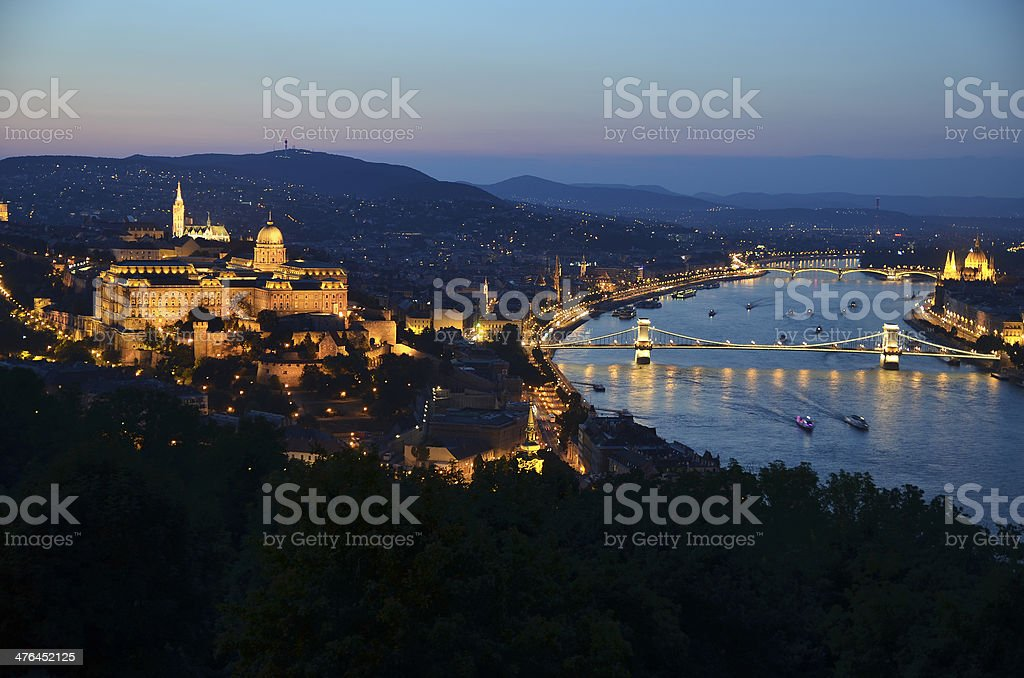 Royal Palace of Buda, Matthias Church and Parliament, Budapest, Hungary royalty-free stock photo