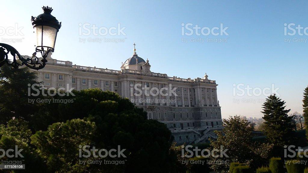 Royal Palace Palacio Real in Madrid stock photo