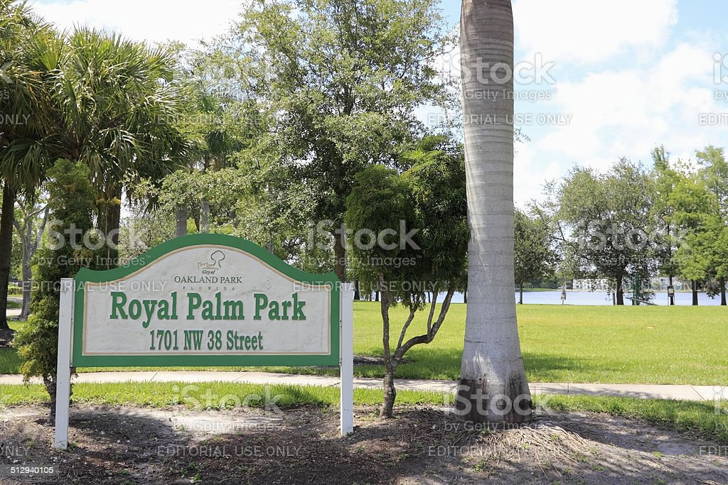 Royal Palm Park Sign stock photo