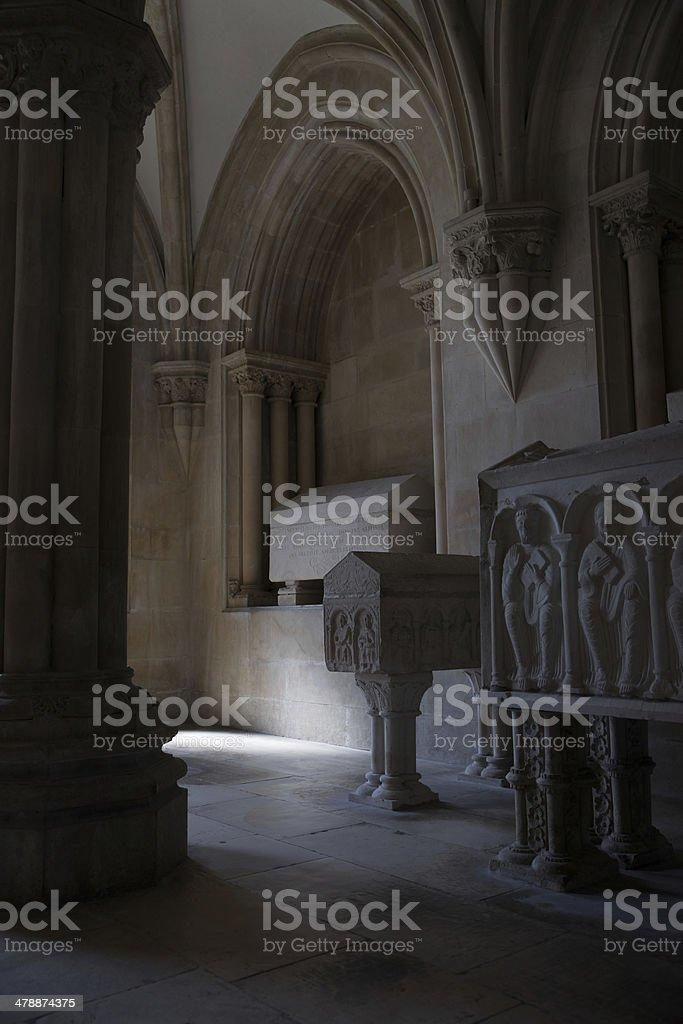 Royal Pantheon at Monastery of Alcobaca, Portugal stock photo