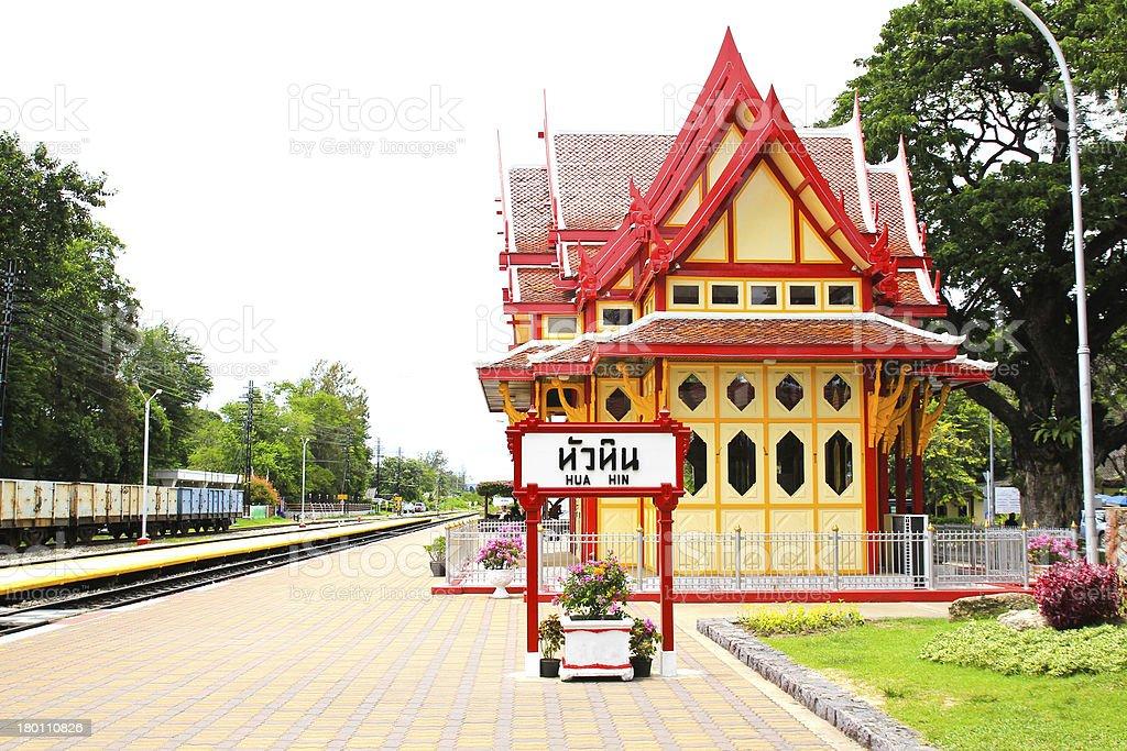 Royal pavilion at hua hin railway station stock photo