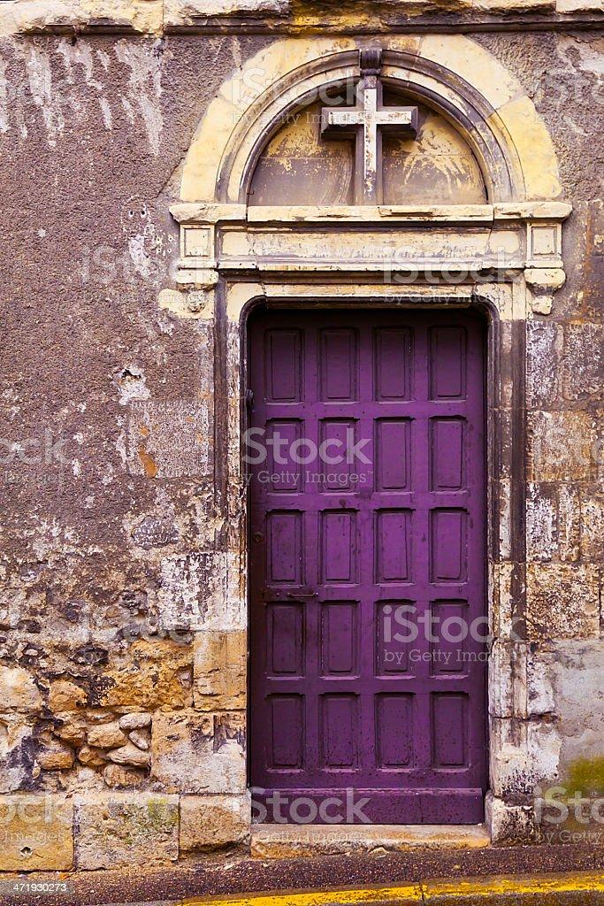 ... Royal Purple Christian Door Leading Through Antique Wall Stock Photo ...