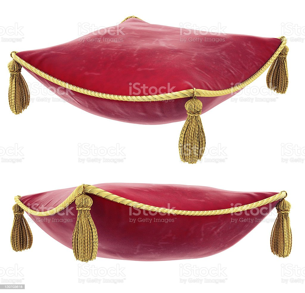 Royal red pillow with gold trim stock photo