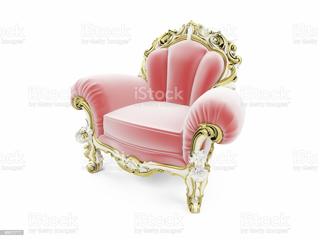 Royal red velvet furniture isolated view stock photo