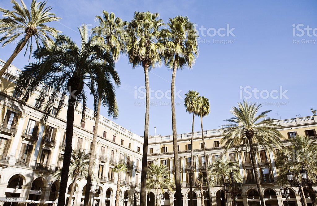 Royal square Placa Reial in Barcelona Spain royalty-free stock photo