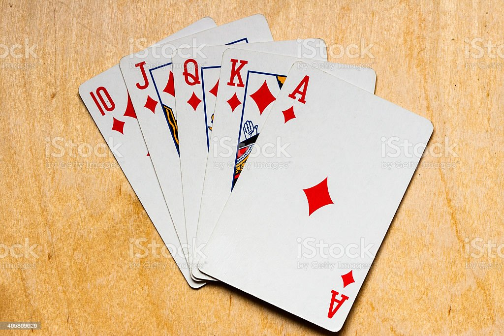 Royal straight flush with diamonds stock photo