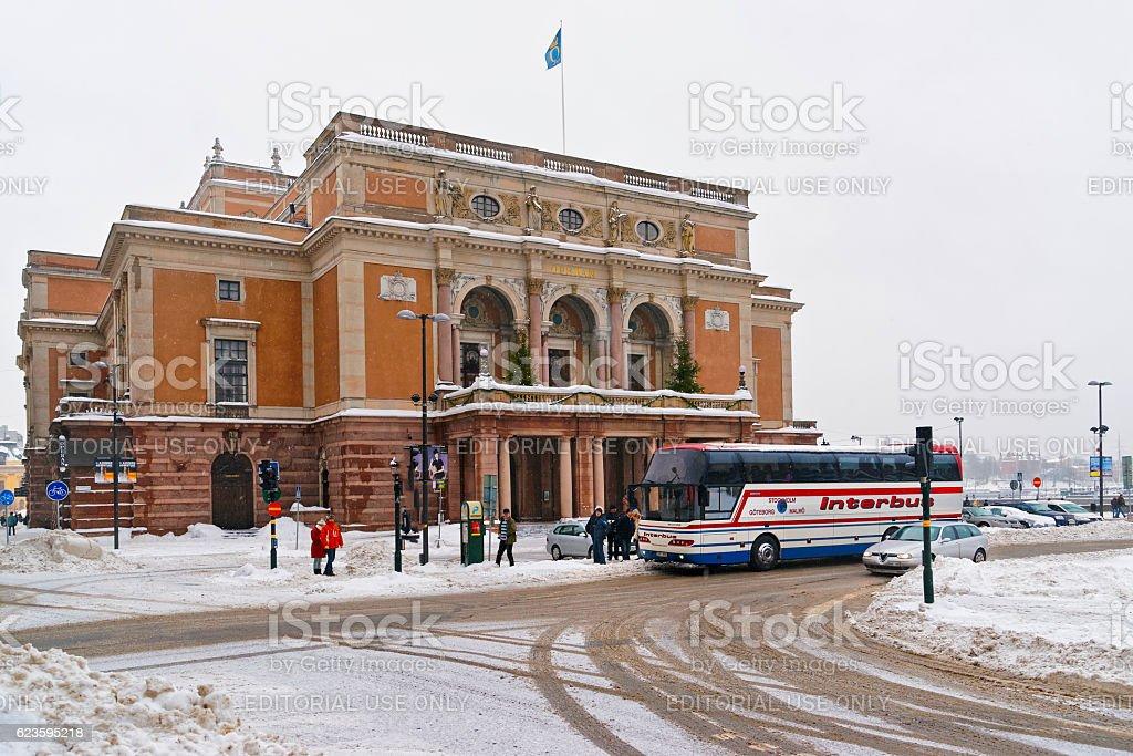 Royal Swedish Opera in winter Stockholm stock photo