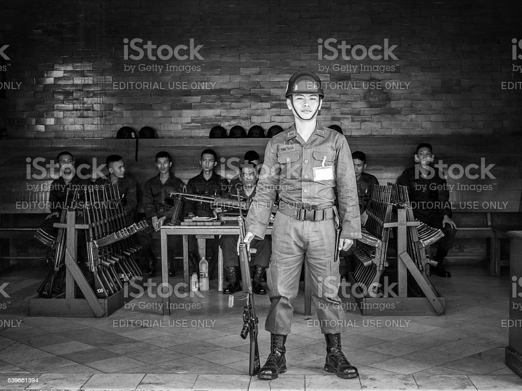Royal Thai Army Military Soldiers with Guns stock photo