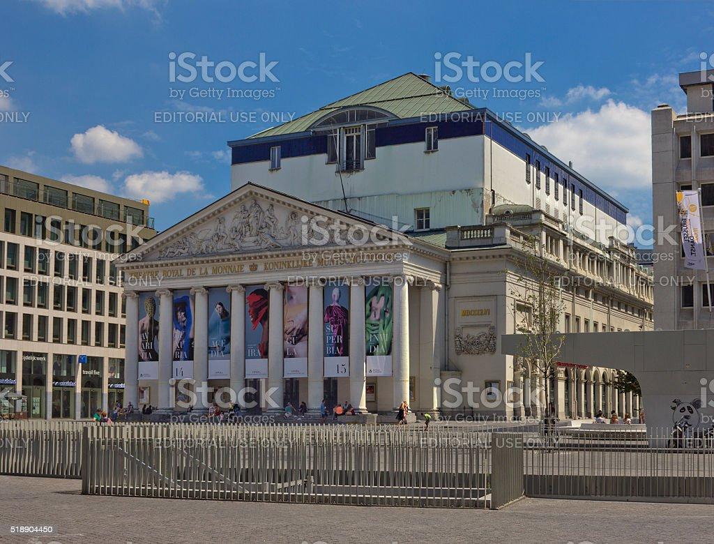 Royal Theatre of the Mint in Brussels, Belgium stock photo