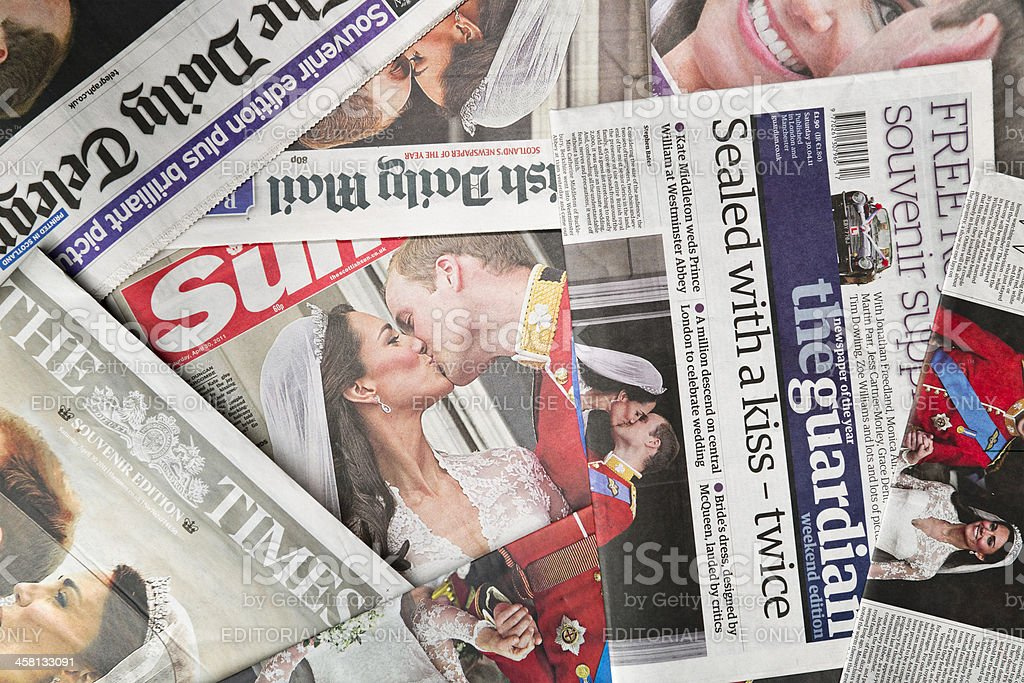 Royal Wedding Coverage by British Newspapers stock photo