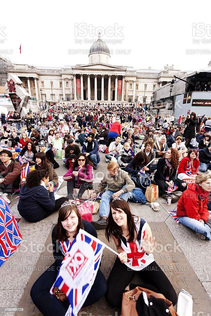 Royal Wedding party, Trafalgar Square stock photo