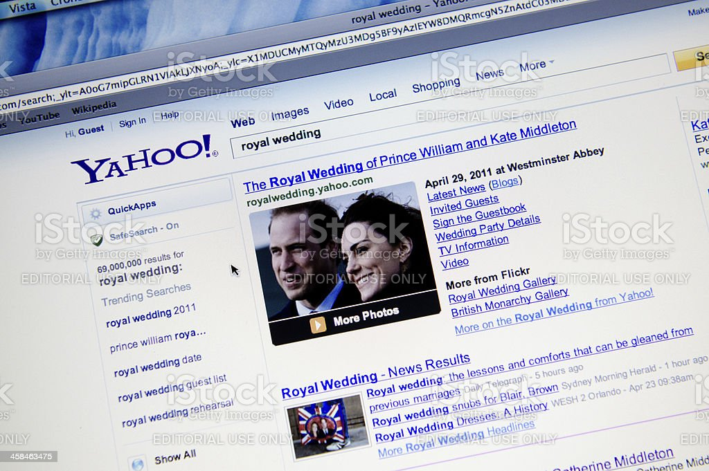 Royal wedding result on Yahoo.com search engine royalty-free stock photo