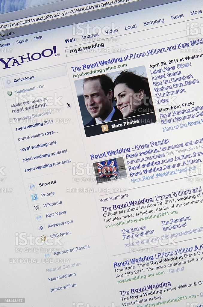Royal wedding result on Yahoo.com search engine stock photo