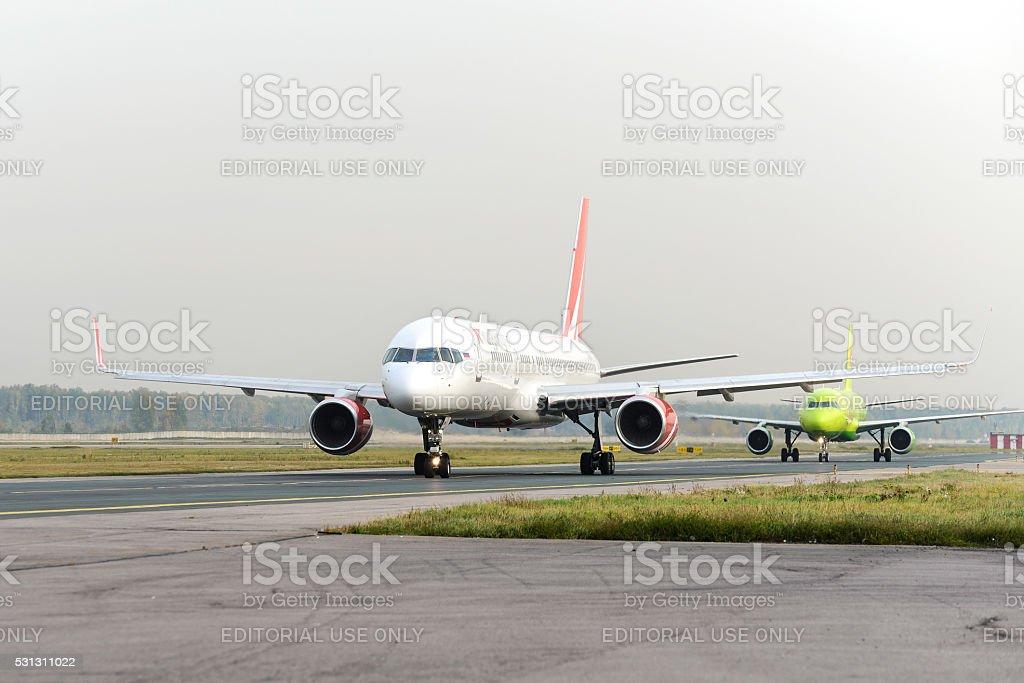RoyalFlight Boeing 757 taxiing stock photo