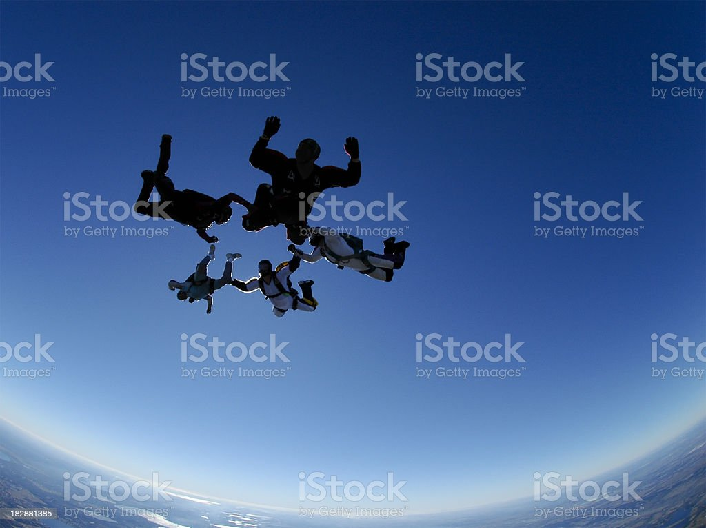 Royalty Free Stock Photo: Five Skydivers in a Freefall Formation royalty-free stock photo