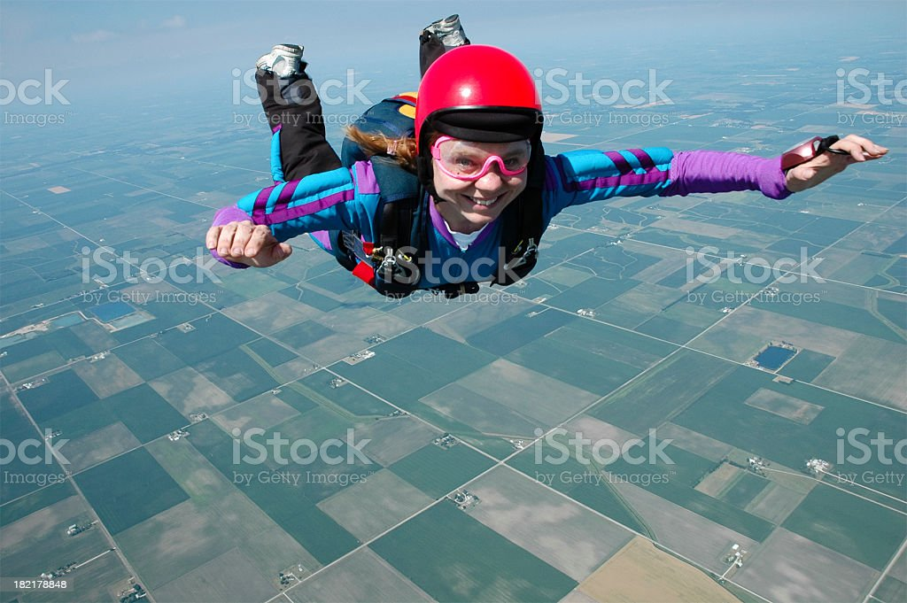 Royalty Free Stock Photo - Happy Woman Skydiver royalty-free stock photo