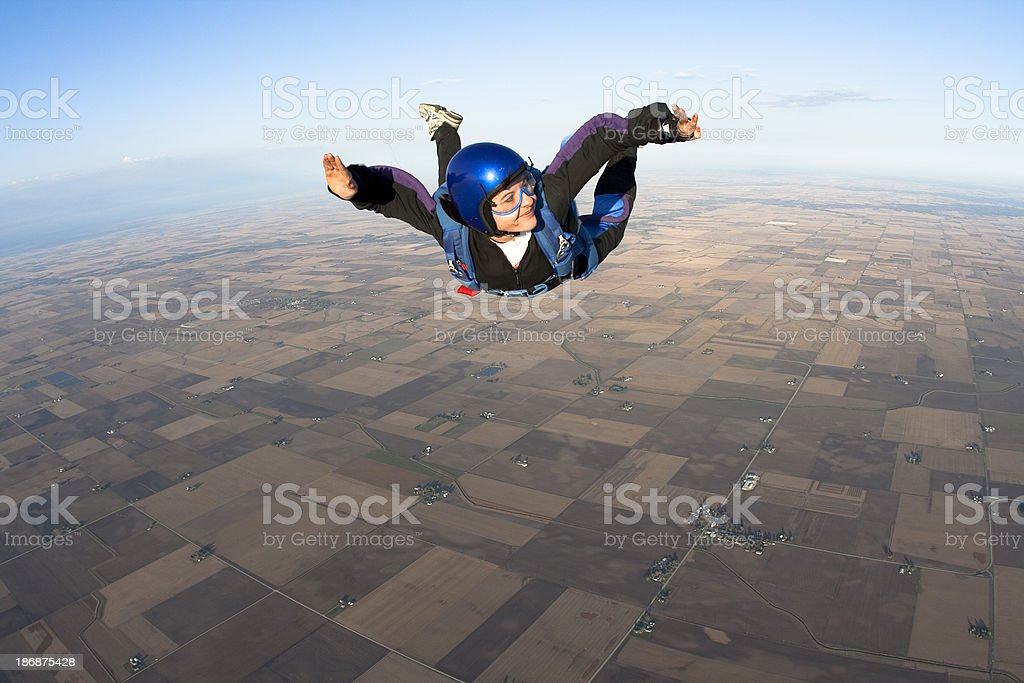 Royalty Free Stock Photo: Happy Woman Skydiver royalty-free stock photo