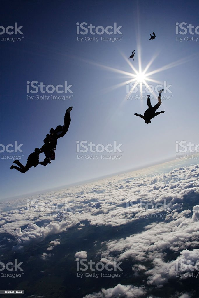 Royalty Free Stock Photo: Skydivers In Freefall royalty-free stock photo