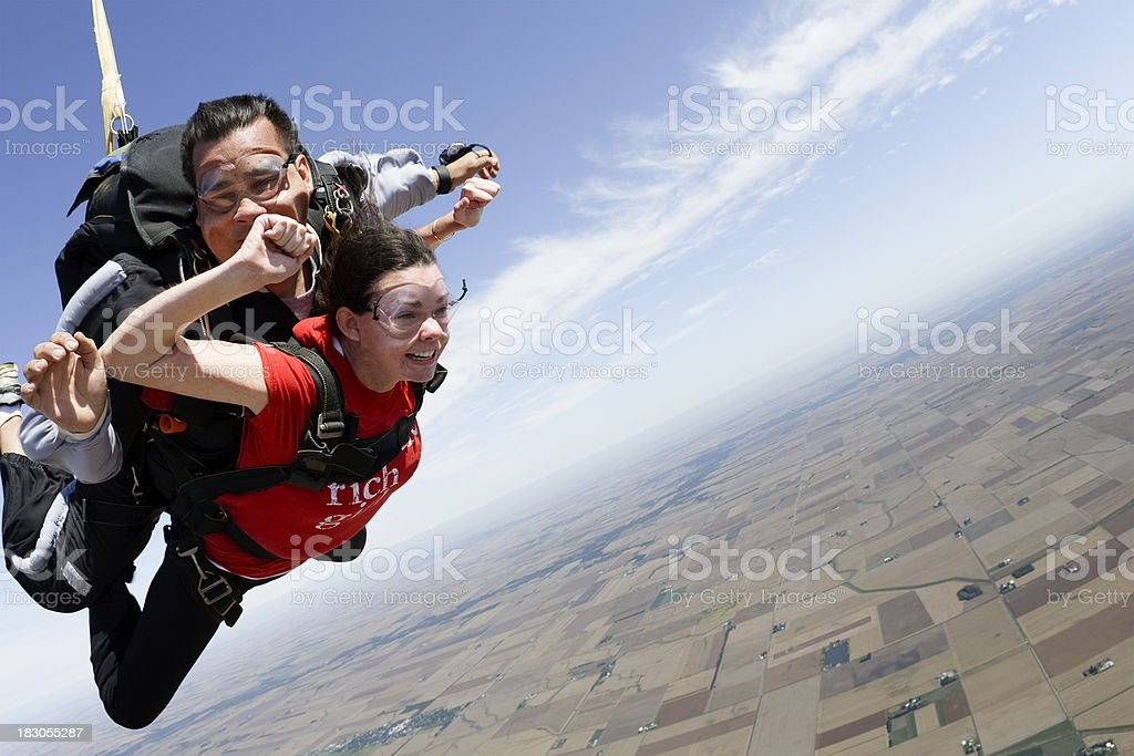 Royalty Free Stock Photo: Tandem Skydivers stock photo