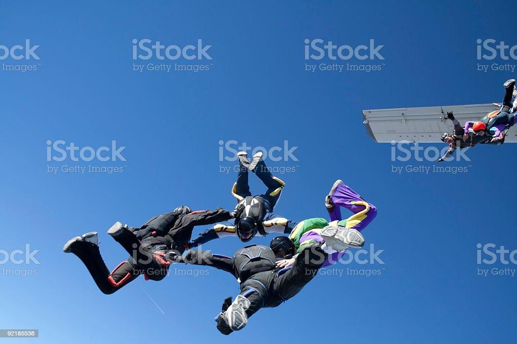 Royalty Free Stock Photo: Teamwork - Six skydivers royalty-free stock photo