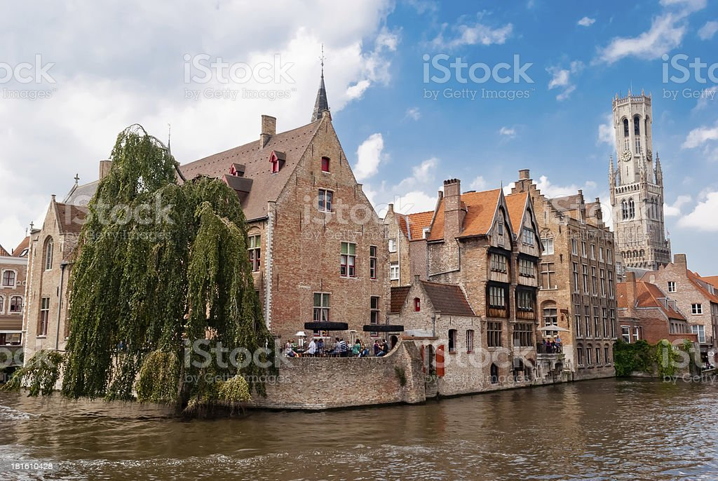 Rozenhoedkaai (Quai of the Rosary), and Belfry Tower, Bruges stock photo
