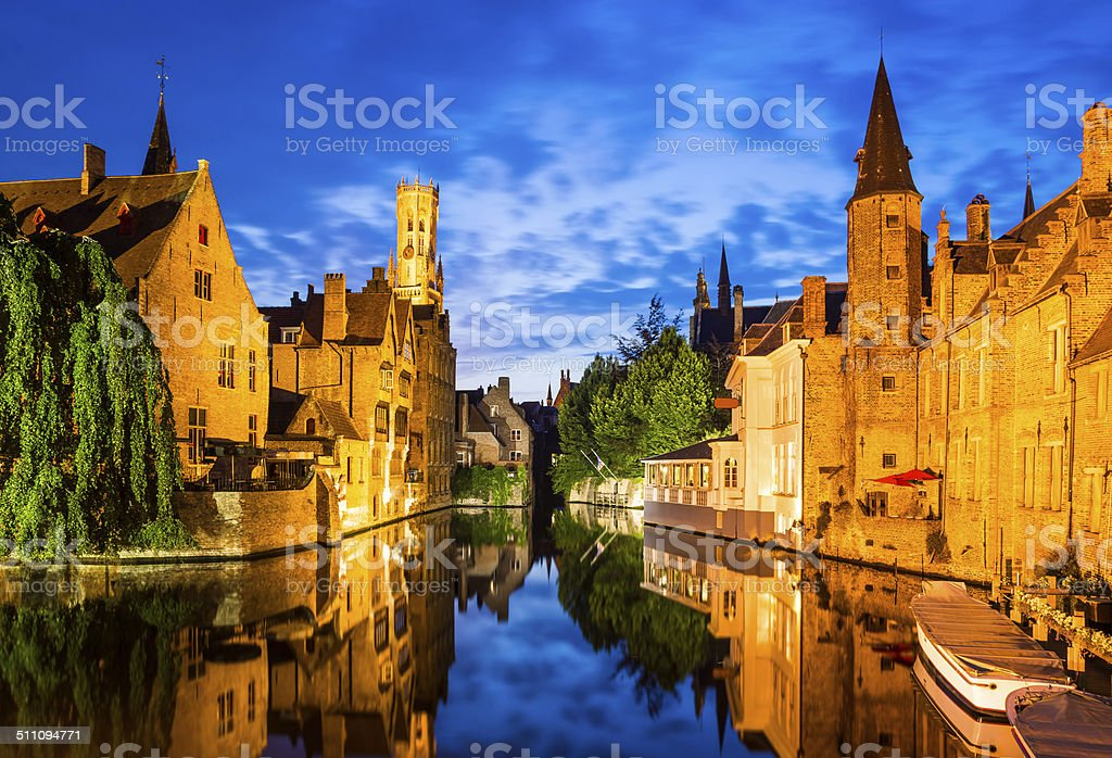 Rozenhoedkaai, Bruges in Belgium stock photo