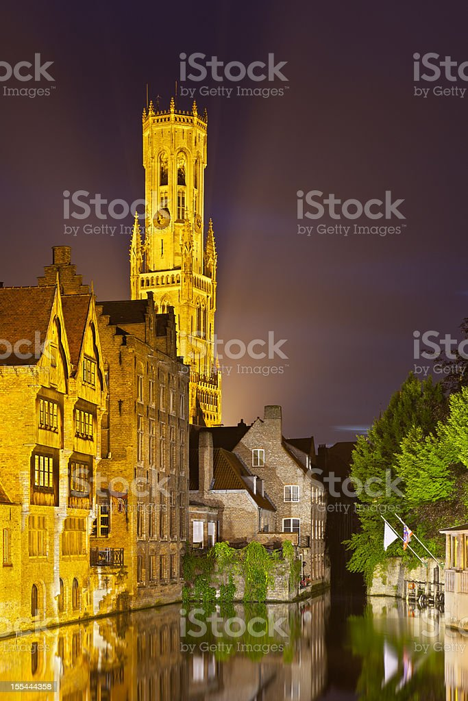 Rozenhoedkaai In Bruges At Night royalty-free stock photo