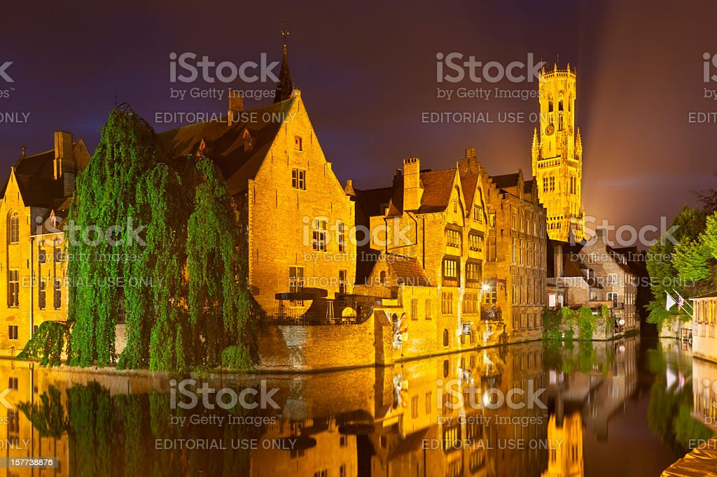 Rozenhoedkaai In Bruges At Night royalty-free stock photo