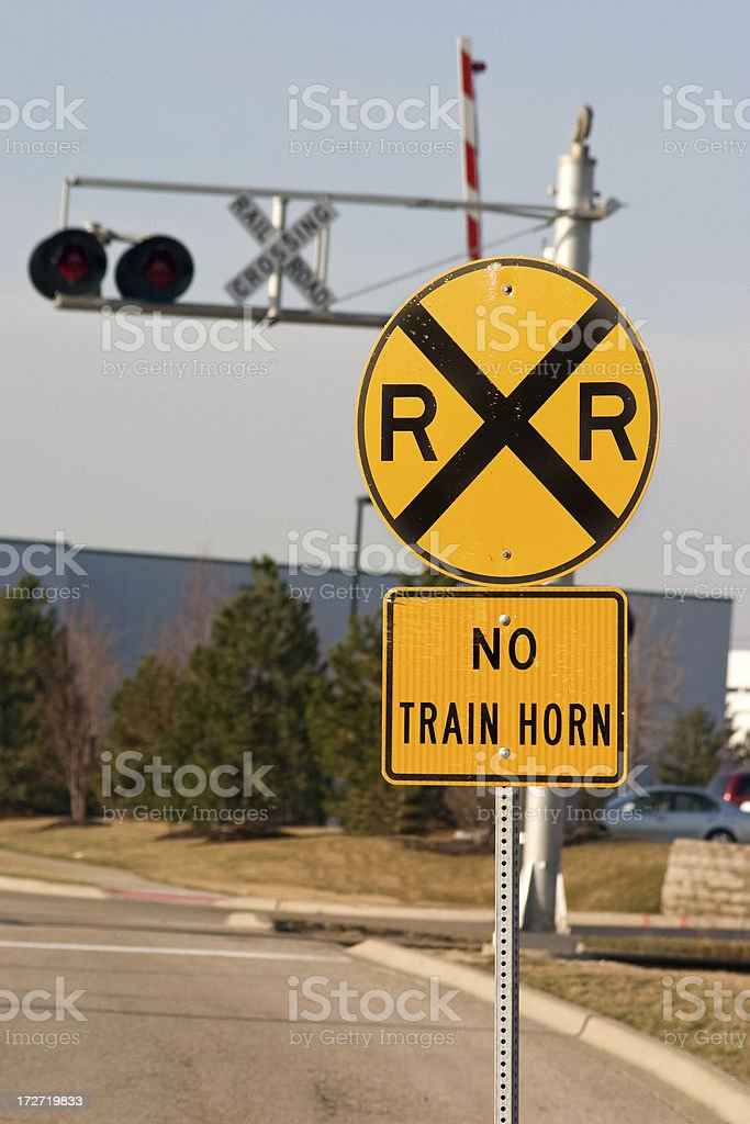 rr crossing no train horn stock photo