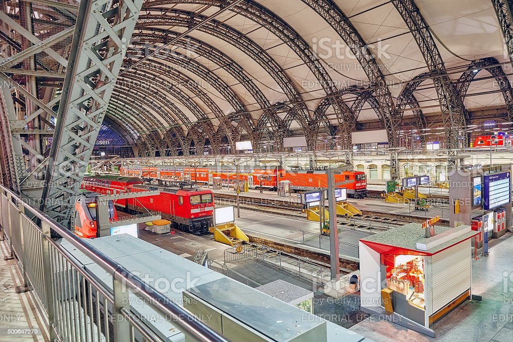 Rrailways station of Dresden. stock photo