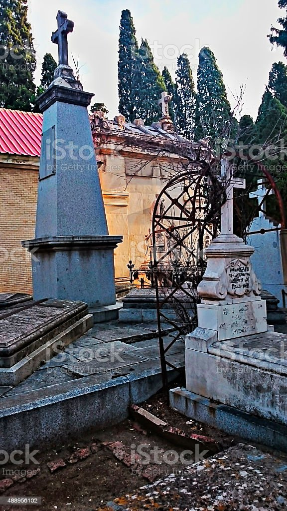 RRomantic cemetery with its Gothic elements. stock photo