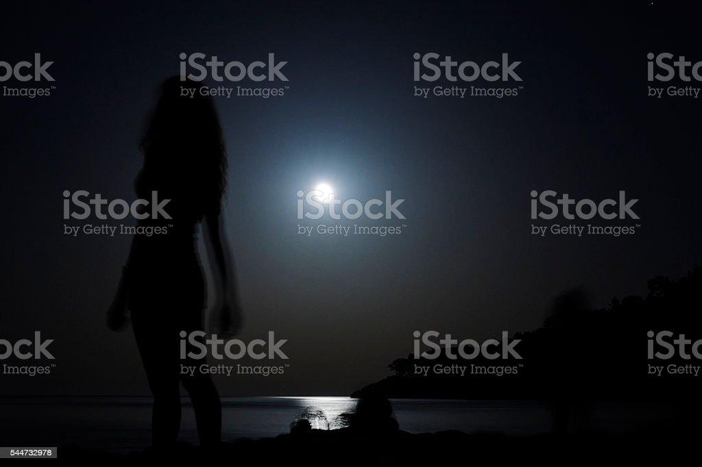 Rİsing Moon Over Sea stock photo